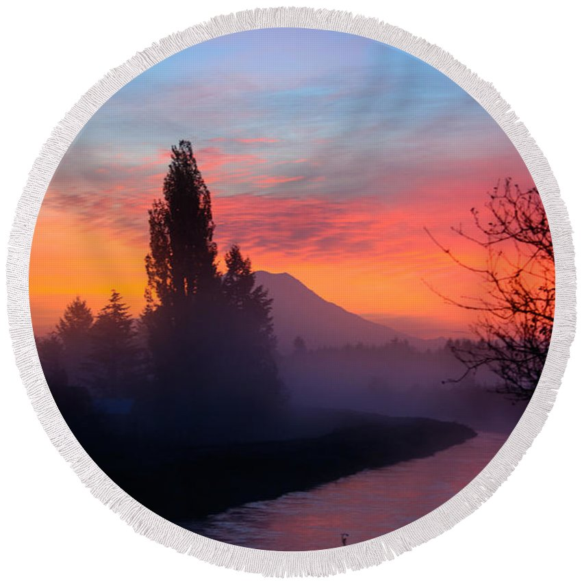 Landscape Round Beach Towel featuring the photograph Misty Mountain Morning by Tikvah's Hope