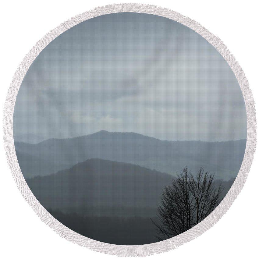 Landscape Round Beach Towel featuring the photograph Misty Mountain by Zoran Berdjan