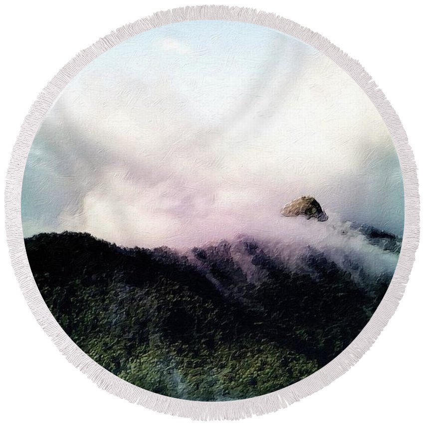 Misty Round Beach Towel featuring the painting Misty Mountains by Florian Rodarte