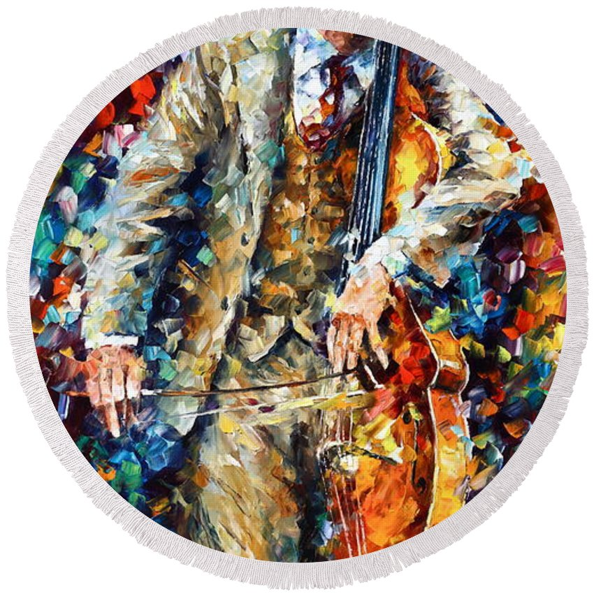 Afremov Round Beach Towel featuring the painting Misty Music 2nd Version by Leonid Afremov
