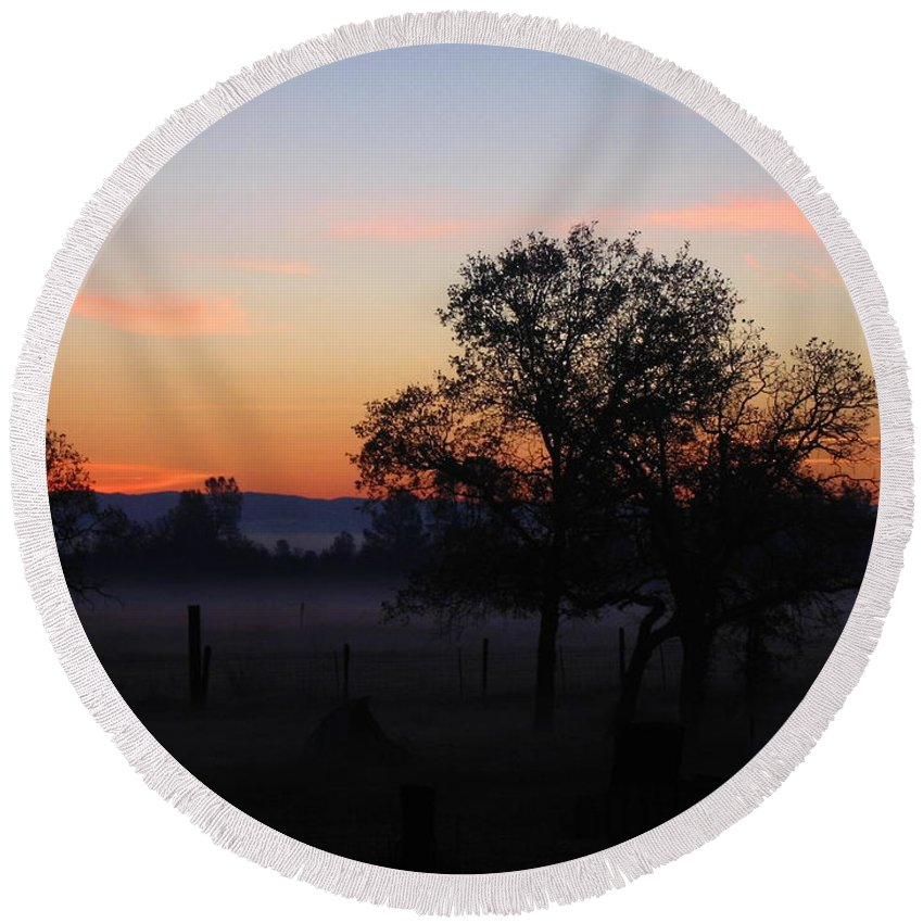 Mist Round Beach Towel featuring the photograph Misty November Morn by Joyce Dickens
