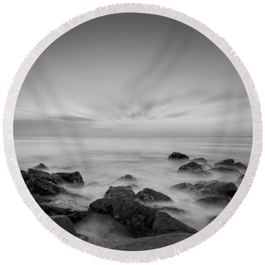 Misty Rocks Round Beach Towel featuring the photograph Misty Rocks Bw by Michael Ver Sprill