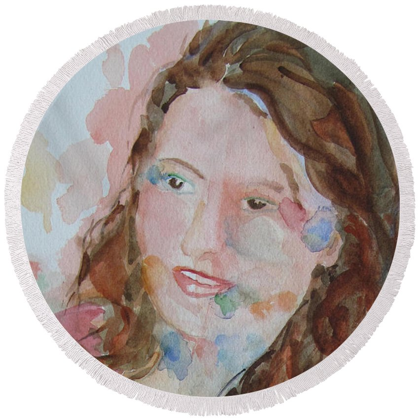 Woman Round Beach Towel featuring the painting Misty by Sandy McIntire