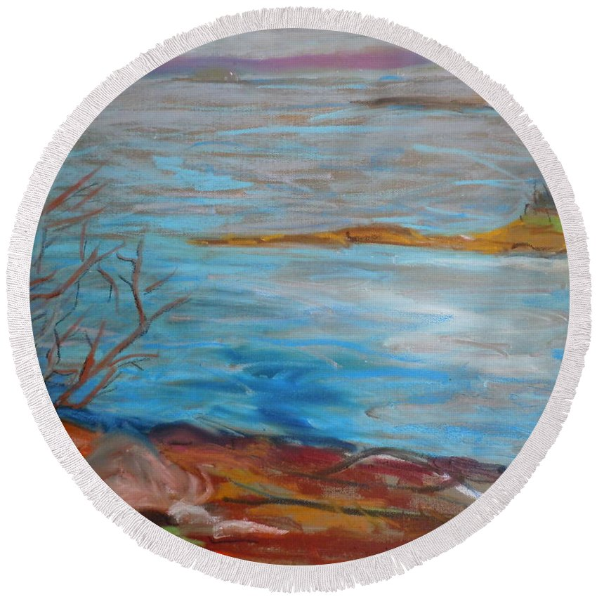 Landscape Round Beach Towel featuring the painting Misty Surry by Francine Frank