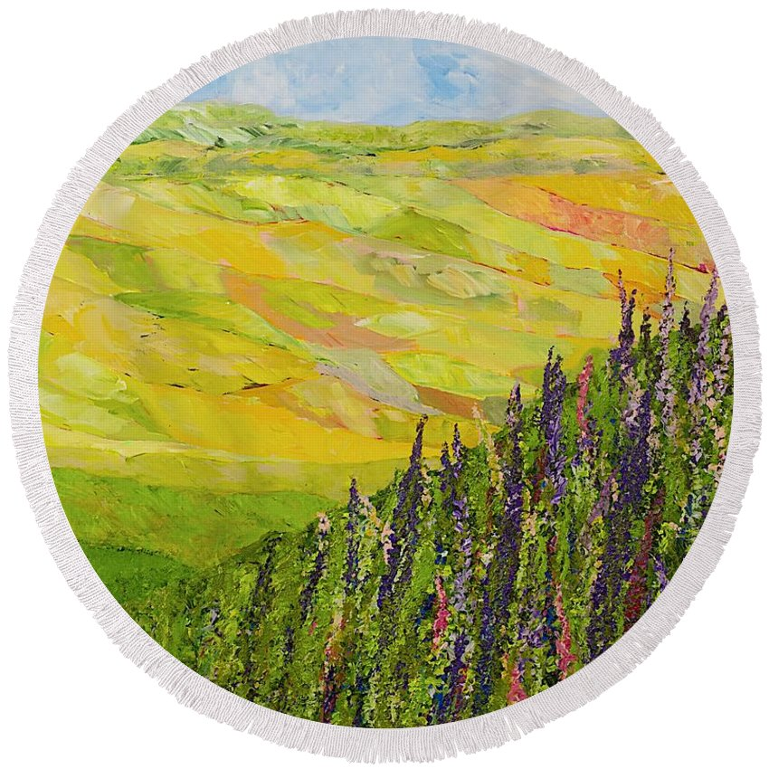 Landscape Round Beach Towel featuring the painting Misty Valley by Allan P Friedlander