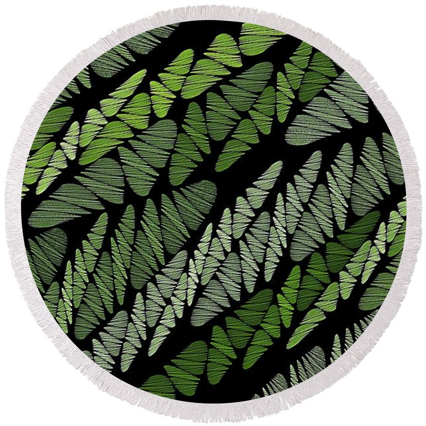 Green Tones Round Beach Towel featuring the digital art Mixed Assembly-green by Doug Morgan