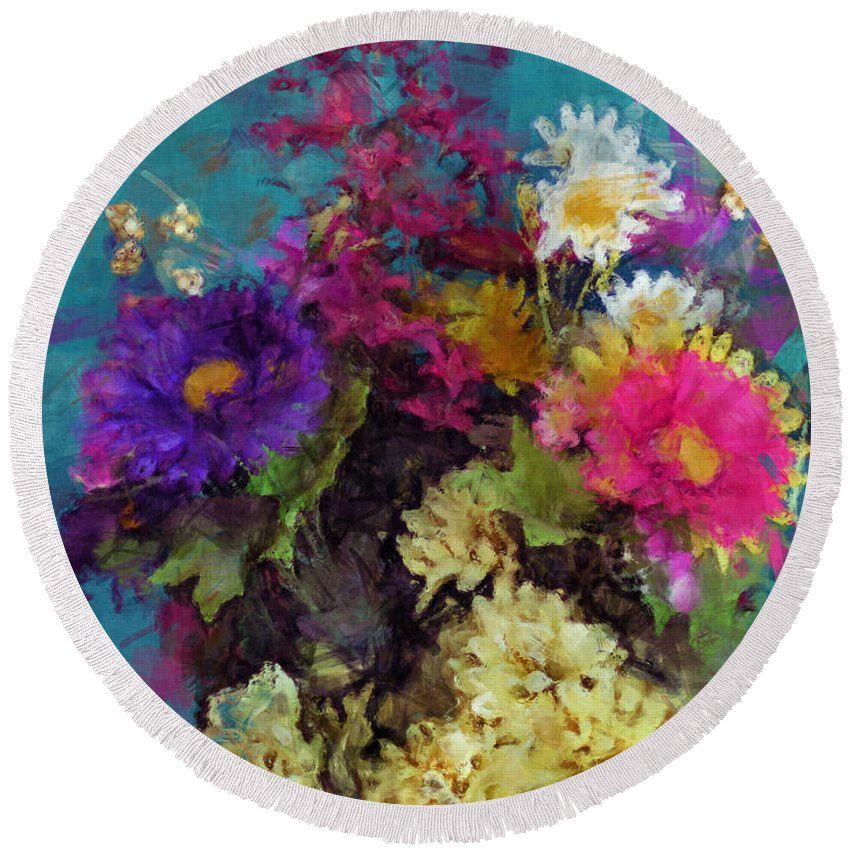 Flower Paintings Round Beach Towel featuring the photograph Mixed Bouquet by George Tuffy