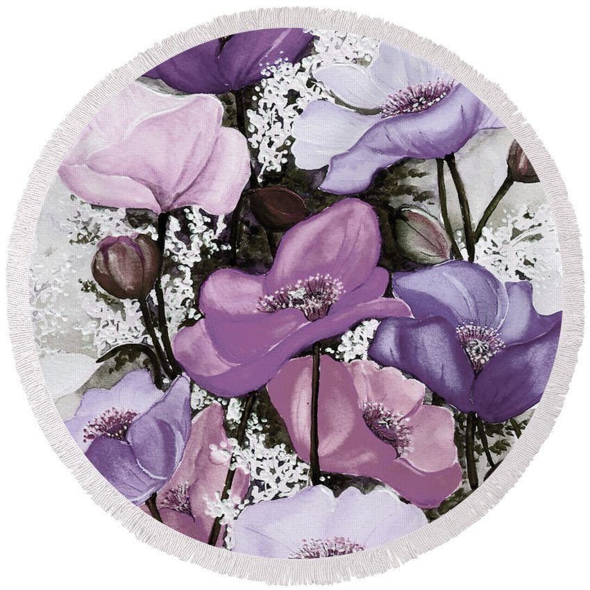 Purple Round Beach Towel featuring the painting Mixed Poppies Purple by Karin Dawn Kelshall- Best