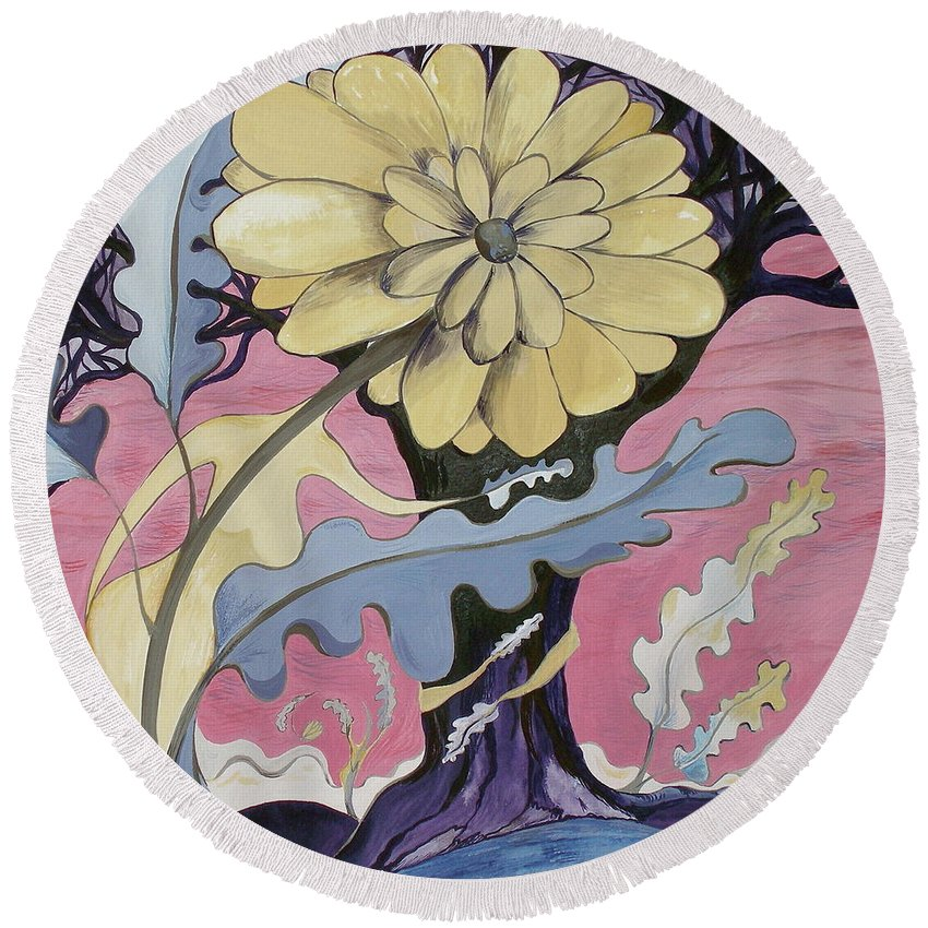 Flower.surreal Round Beach Towel featuring the painting Miz Fleur by Sue Wright