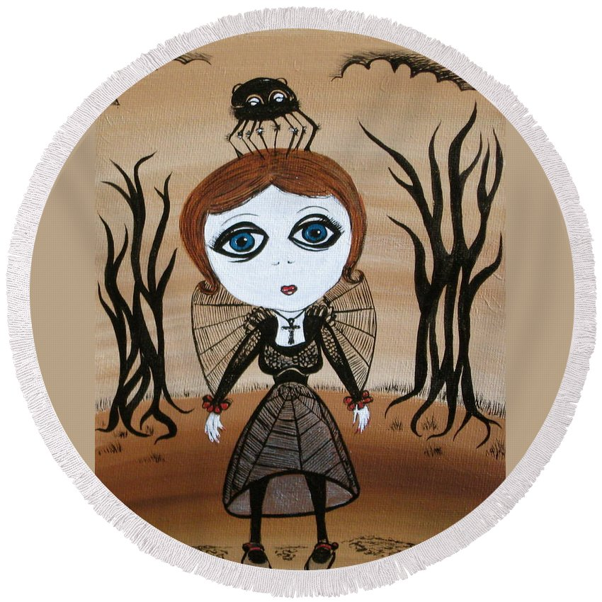 Gothic Round Beach Towel featuring the painting Miz Goth by Sue Wright