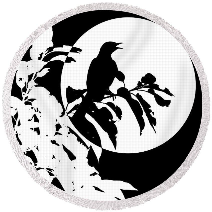 Northcutt Round Beach Towel featuring the digital art Mockingbird Moon by Betty Northcutt