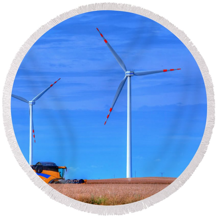 Agriculture Round Beach Towel featuring the photograph Modern Agriculture And Wind Turbines by Michal Bednarek