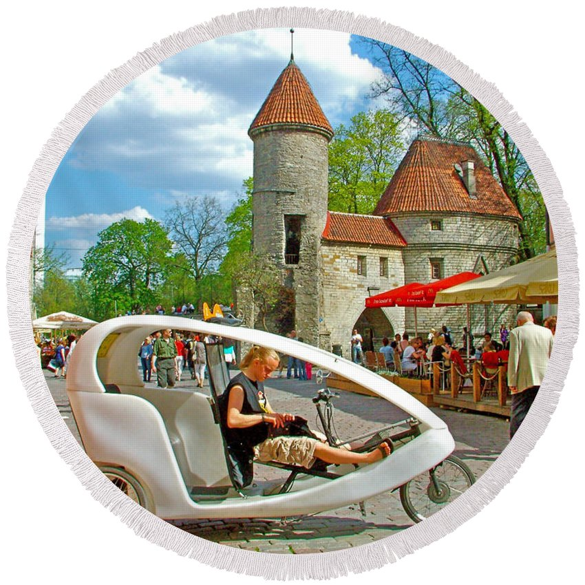 Modern Cycle Taxi In Old Town Tallinn Round Beach Towel featuring the photograph Modern Cycle Taxi In Old Town Tallinn-estonia by Ruth Hager