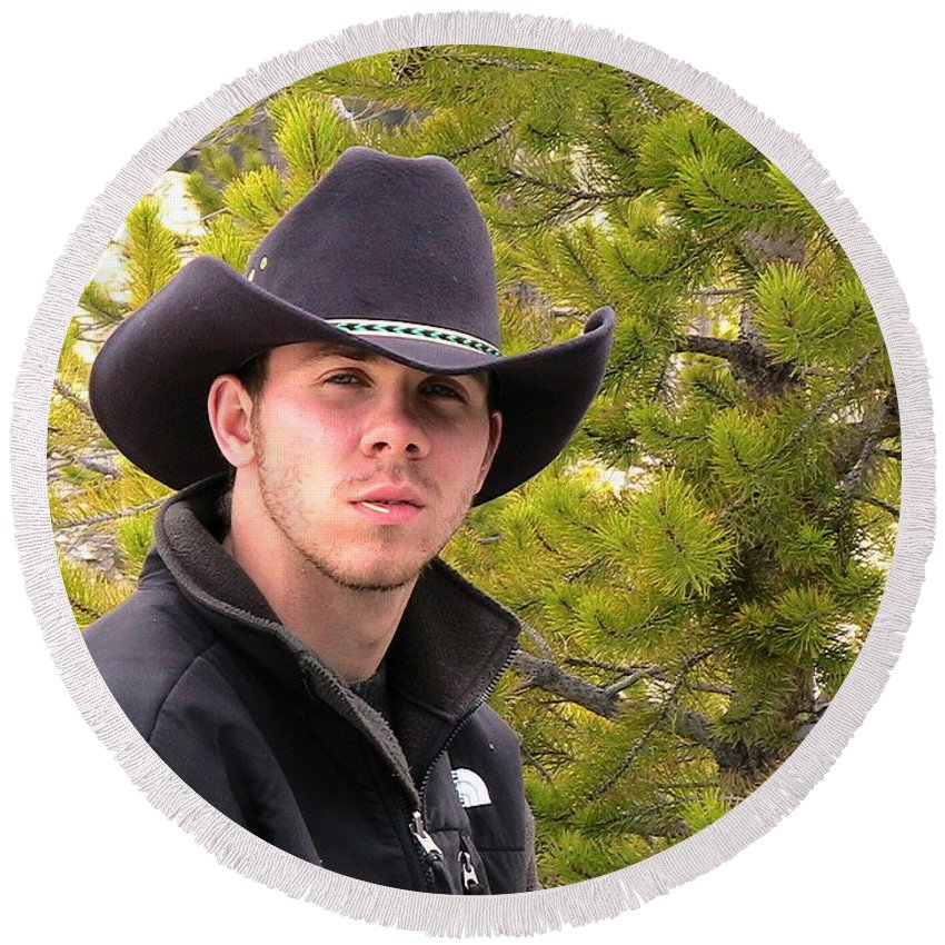 American West Round Beach Towel featuring the photograph Modern Day Cowboy by Thomas Woolworth