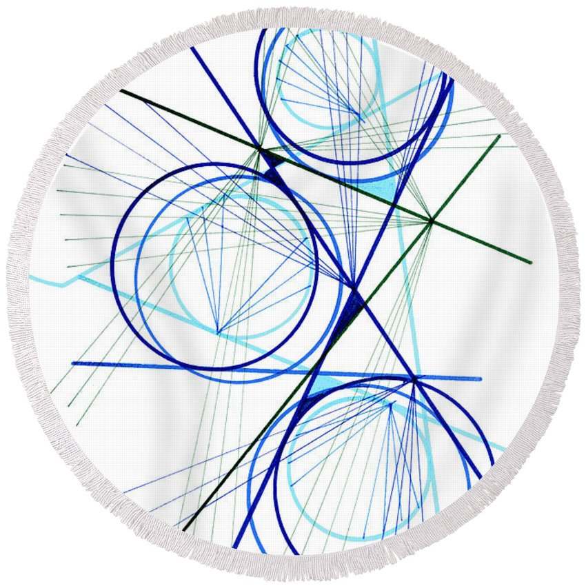 Modern Art Round Beach Towel featuring the drawing Modern Drawing Fifty-seven by Lynne Taetzsch