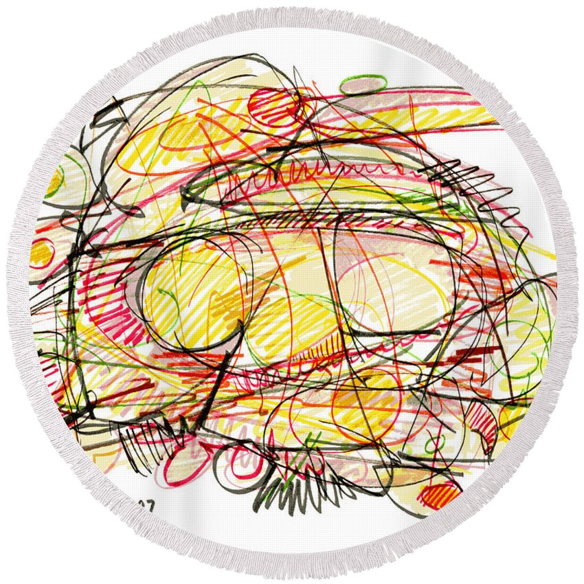 Modern Drawing Round Beach Towel featuring the drawing Modern Drawing Seventy-eight by Lynne Taetzsch