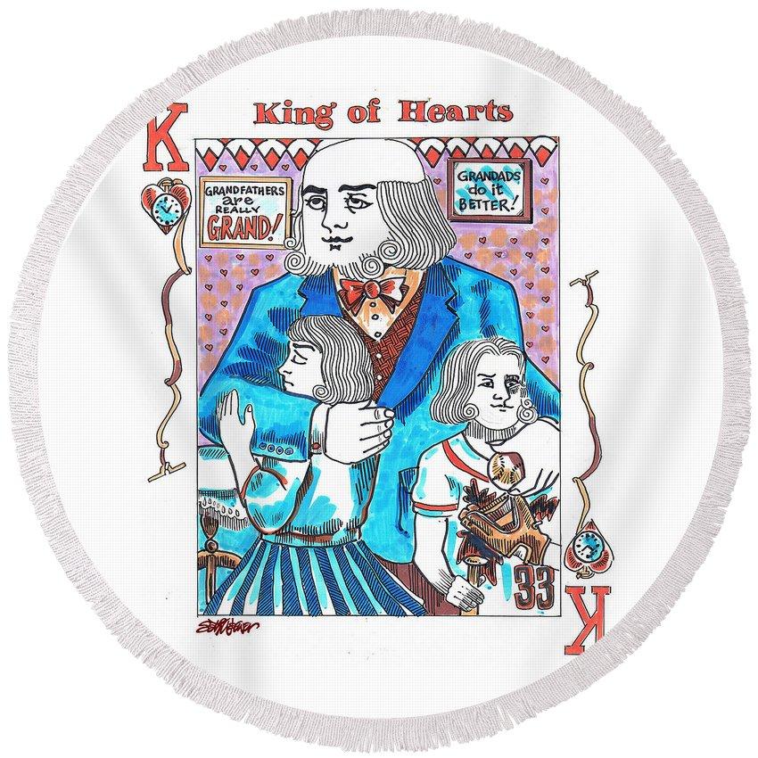 Modern King O' Hearts Round Beach Towel featuring the drawing Modern King O' Hearts by Seth Weaver