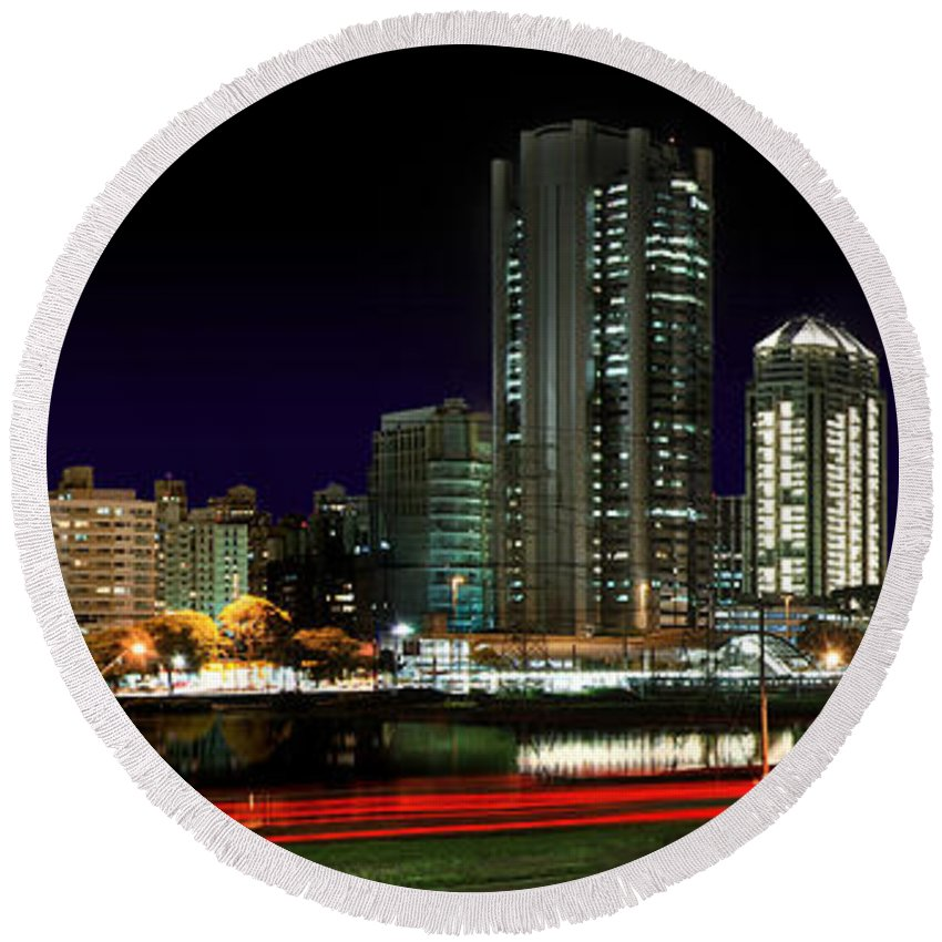 Sao Paulo Round Beach Towel featuring the photograph Modern Sao Paulo Skyline Near Brooklin District And Stayed Bridge by Carlos Alkmin