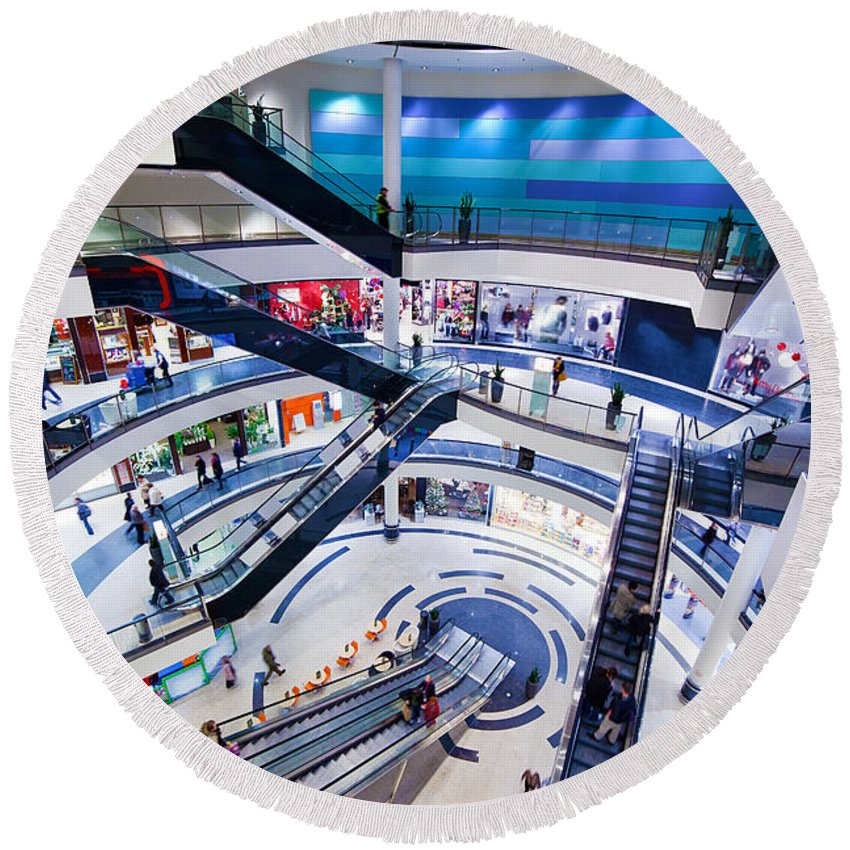 Mall Round Beach Towel featuring the photograph Modern Shopping Mall Interior by Michal Bednarek