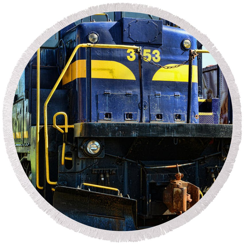 Paul Ward Round Beach Towel featuring the photograph Modern Train Engine by Paul Ward