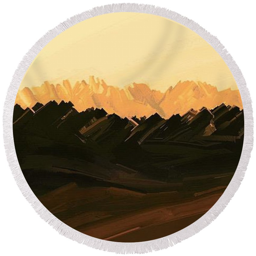 Digital Hand-drawn Painting Round Beach Towel featuring the painting Mohave Desert Mountains by Tim Richards