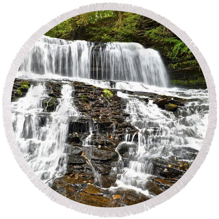 Mohawk Round Beach Towel featuring the photograph Mohawk Falls by Frozen in Time Fine Art Photography