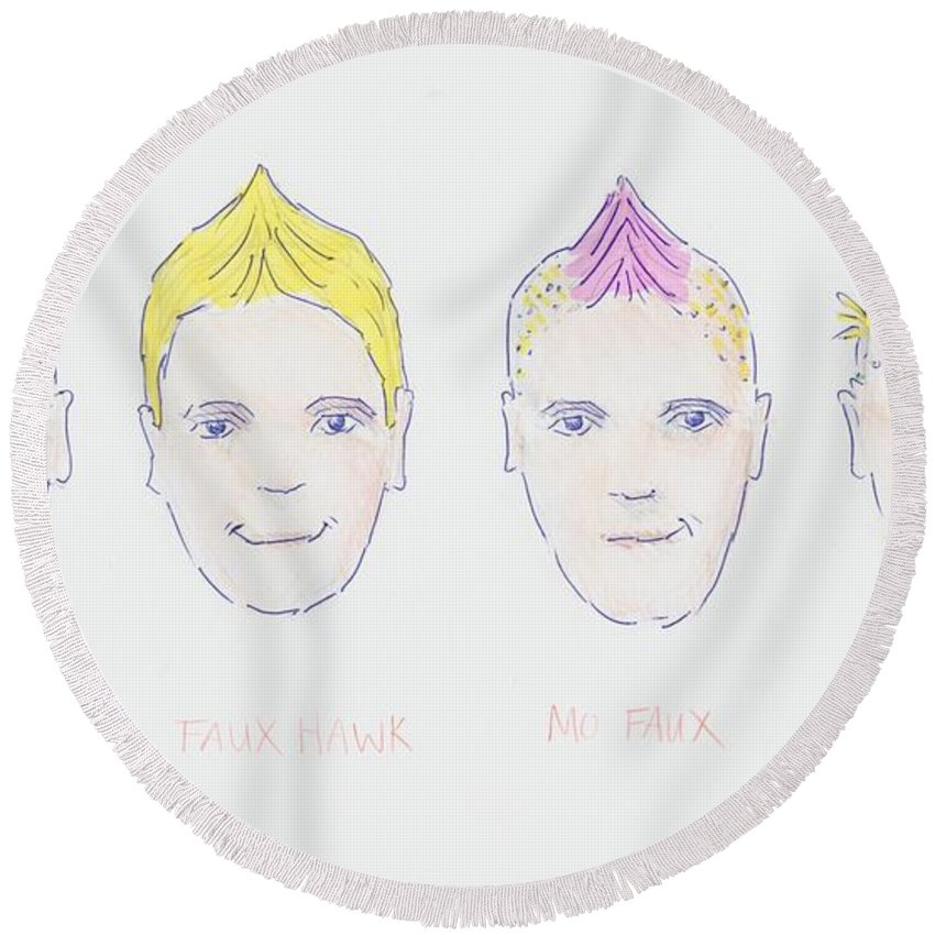 Mohawk Faux Hawk Hairstyle Cartoon Round Beach Towel For Sale By