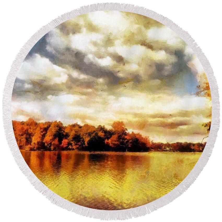 Sacredlife Mandalas Round Beach Towel featuring the painting Mohegan Lake 2 by Derek Gedney
