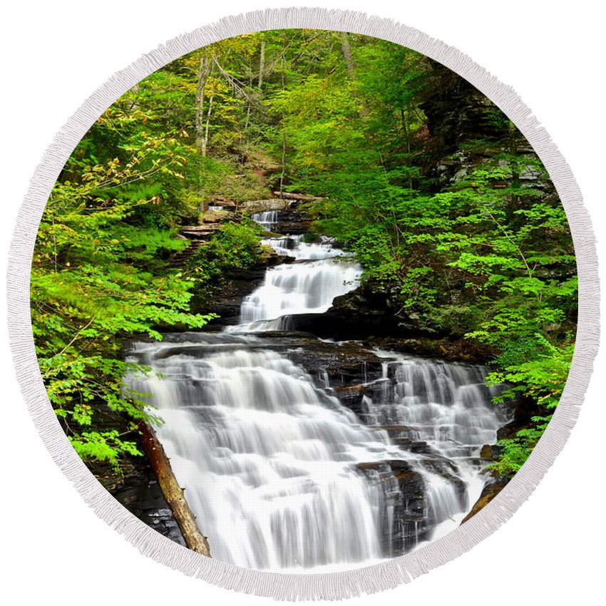 Nature Round Beach Towel featuring the photograph Mohican Falls by Frozen in Time Fine Art Photography