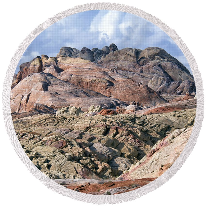 Valley Of Fire Round Beach Towel featuring the photograph Mojave Desert View - Valley Of Fire by Debby Richards