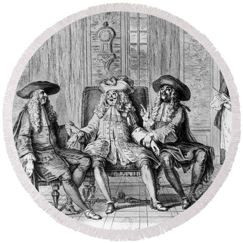 1670 Round Beach Towel featuring the photograph Moliere: Play, 1670 by Granger