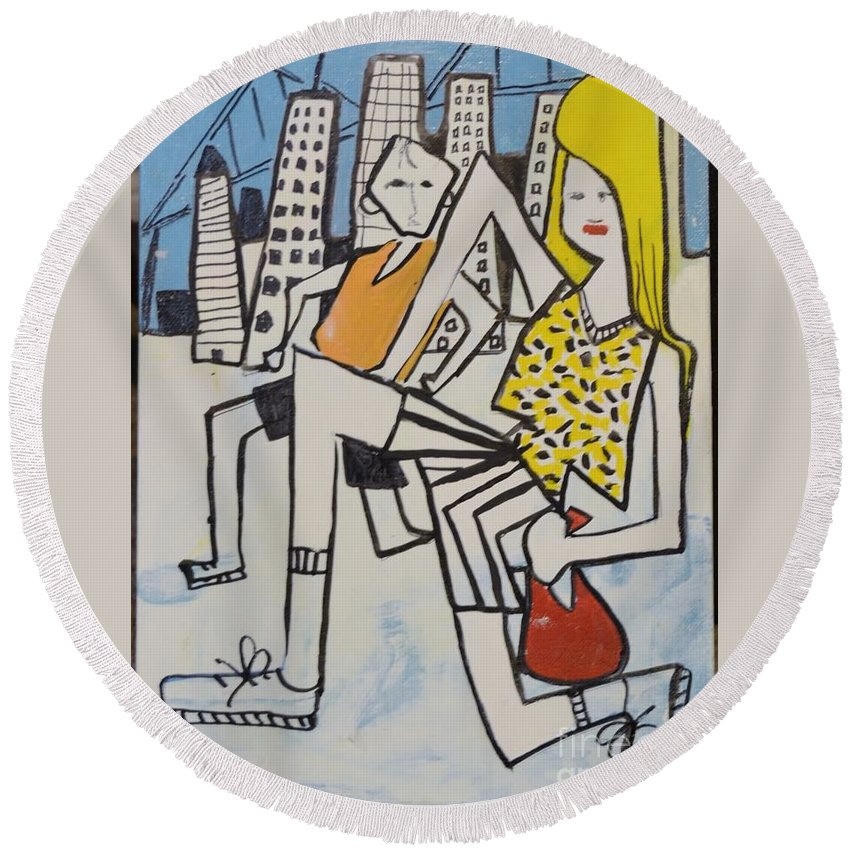 People Round Beach Towel featuring the painting Mom And Son In Montreal by Elaine Berger
