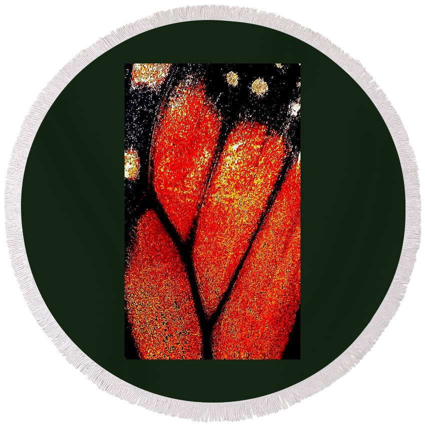 Butterfly Nature Insect Vein Orange Wildlife Round Beach Towel featuring the photograph Monarch Wing by Guy Pettingell