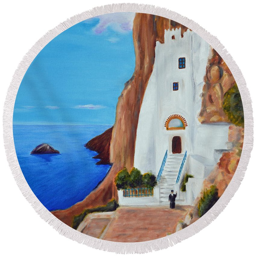 Monastery Round Beach Towel featuring the painting Monastery by Nicolas Nomicos