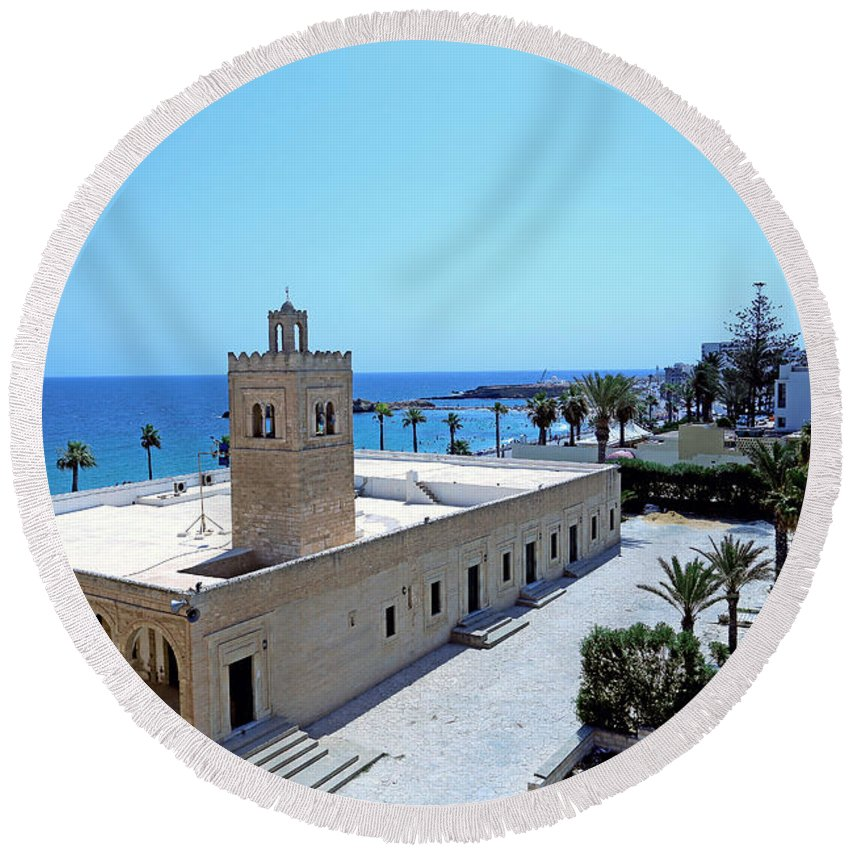 Tunisia Round Beach Towel featuring the photograph Great Mosque Monastir by Paul Fell