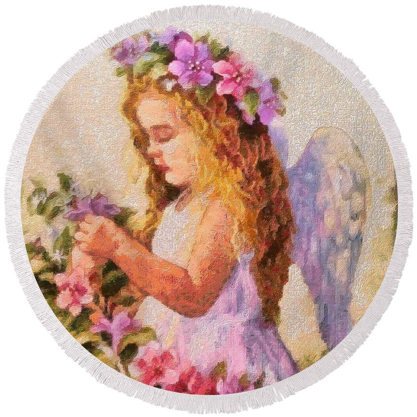 Monet Silked Angel Round Beach Towel featuring the digital art Monet Silked Angel by Catherine Lott