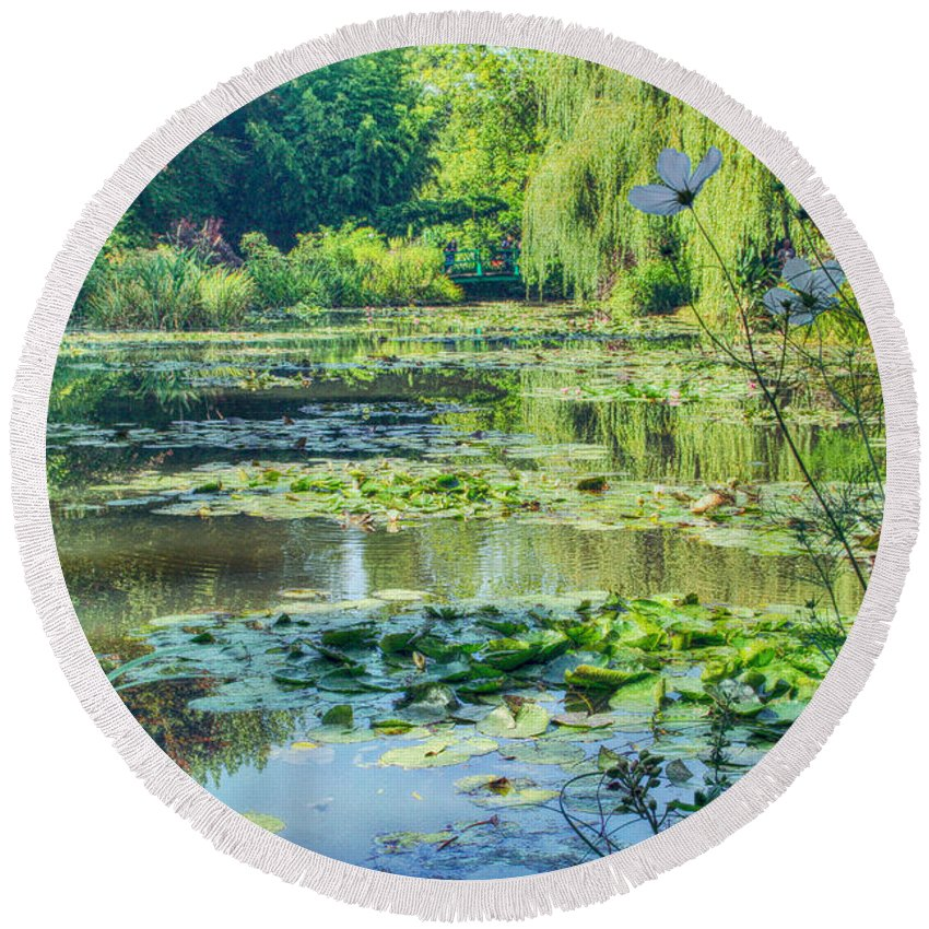 Monet Round Beach Towel featuring the photograph Monet's Water Lily Garden by Diana Haronis
