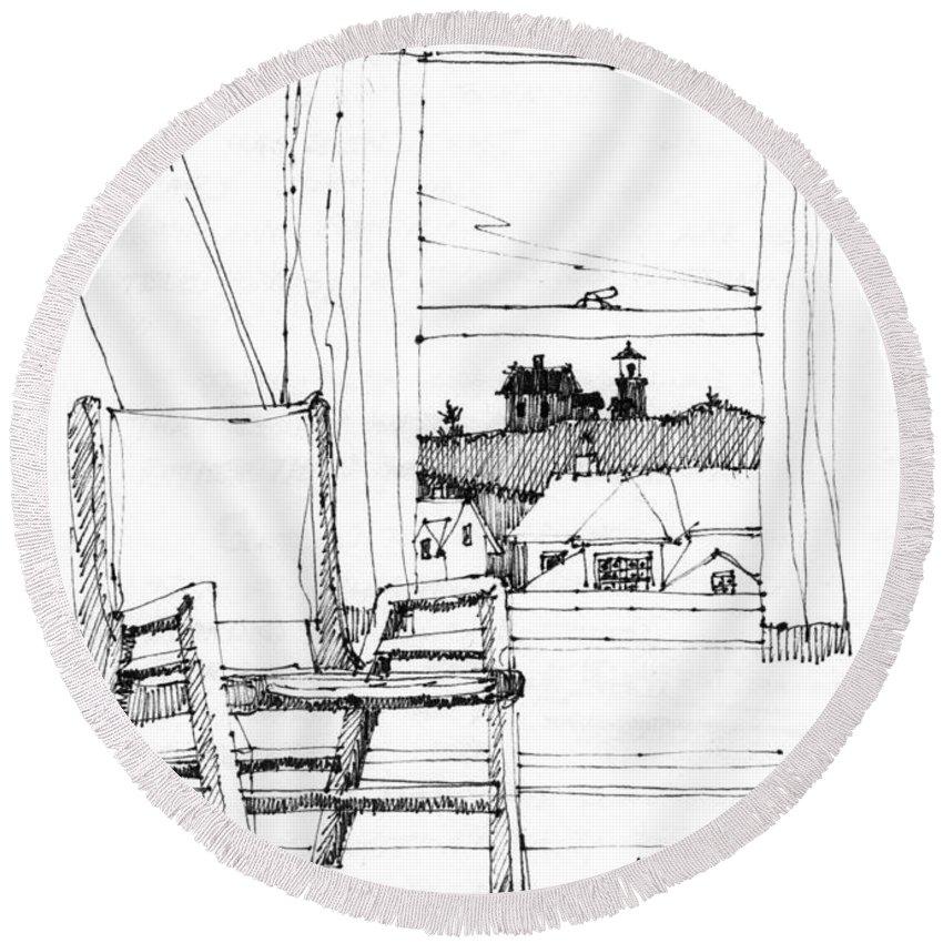 Monhegan Island Round Beach Towel featuring the drawing Monhegan Dawn Island Inn by Richard Wambach