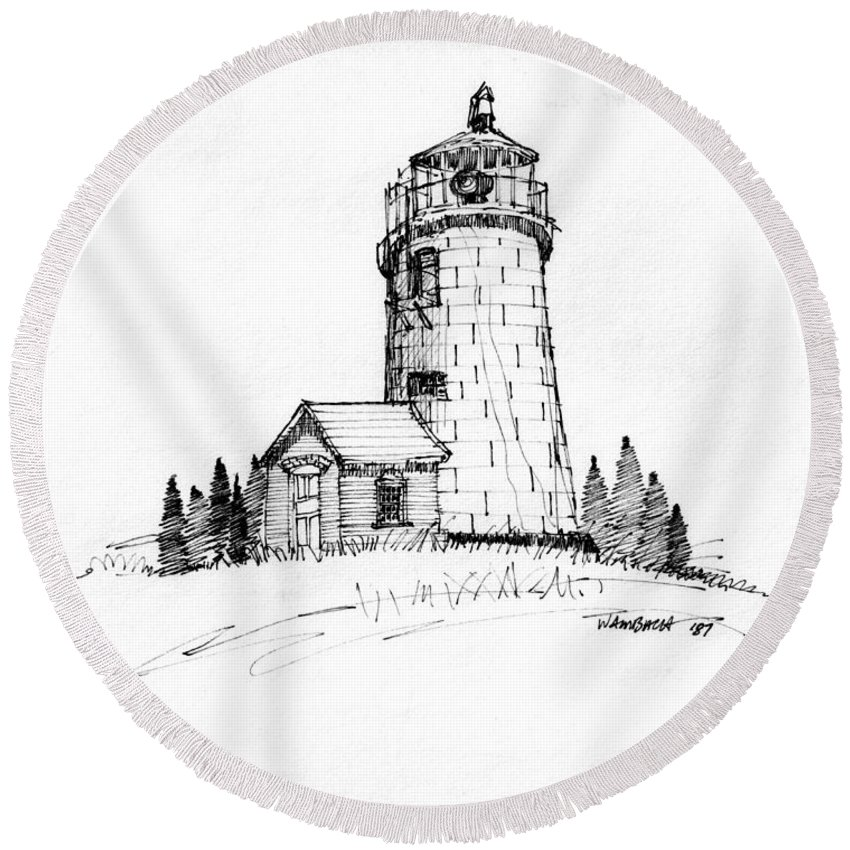Monhegan Island Round Beach Towel featuring the drawing Monhegan Lighthouse 1987 by Richard Wambach