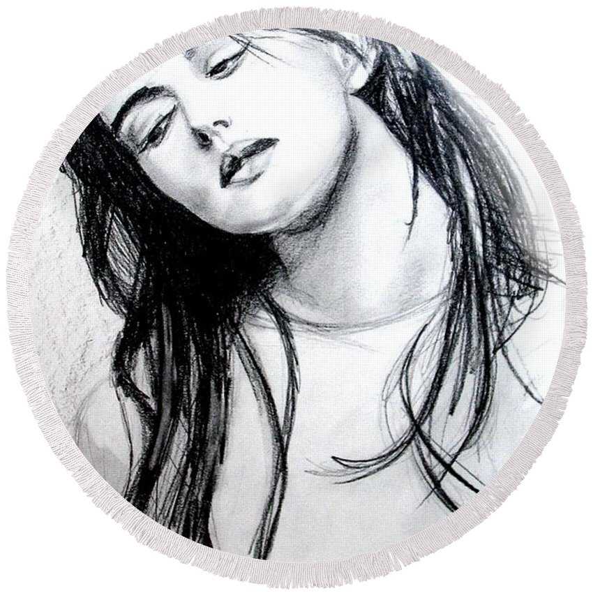Monica Bellucci Round Beach Towel featuring the drawing Monica Bellucci by Marcello Cicchini