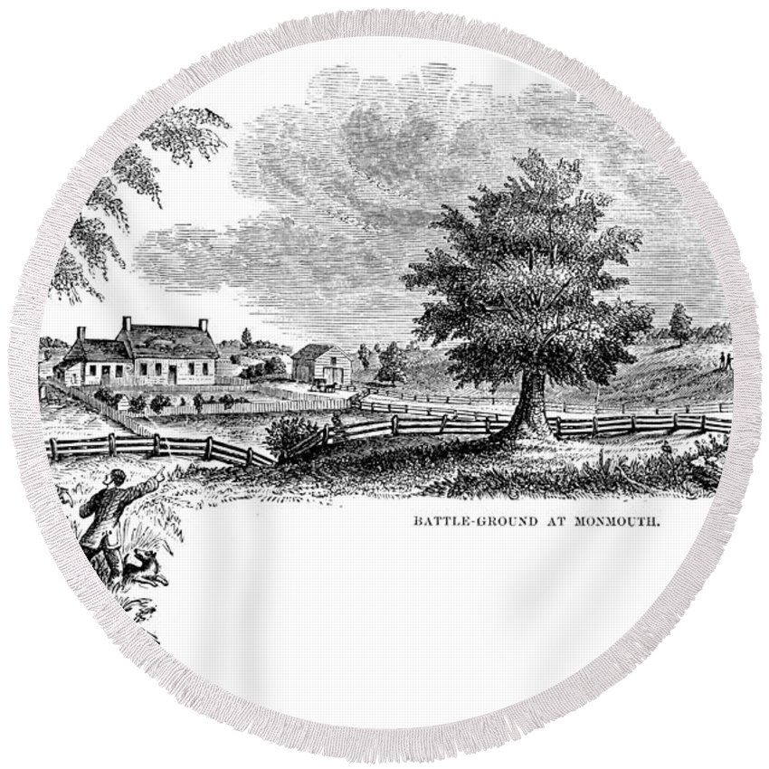1777 Round Beach Towel featuring the photograph Monmouth Battlefield by Granger