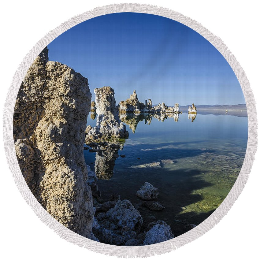 Tufa Round Beach Towel featuring the photograph Mono Lake Tufas 3 by Dianne Phelps