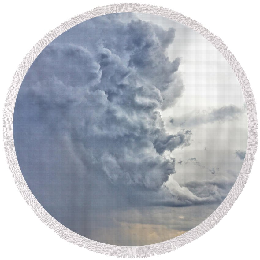 Country Round Beach Towel featuring the photograph Monster Cloud Country by James BO Insogna