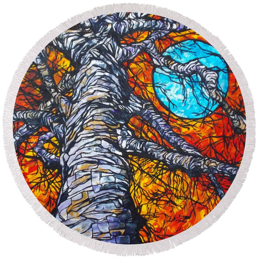 Tree And Moon Round Beach Towel featuring the painting Monster Tree by Tracy Levesque