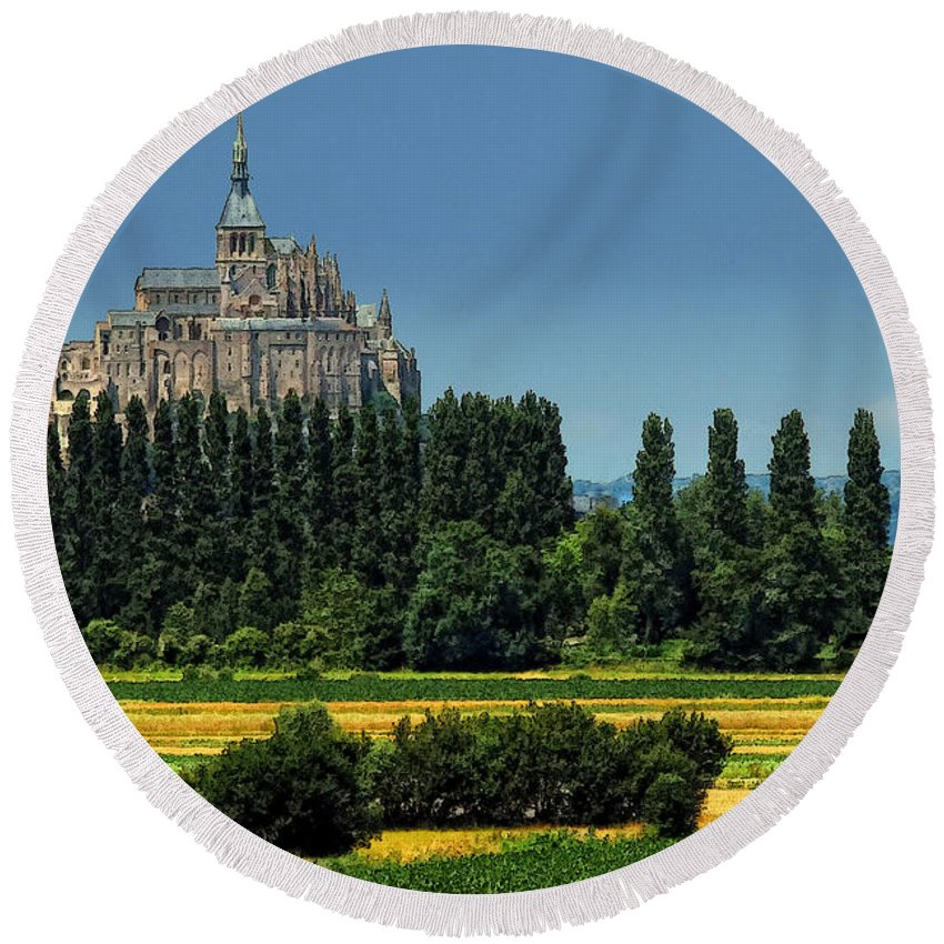 Mont St Michel Round Beach Towel featuring the photograph Mont Saint Michel by Dave Mills