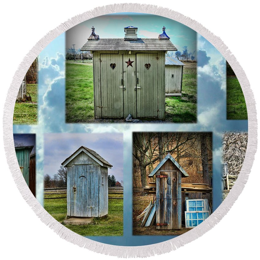 Paul Ward Round Beach Towel featuring the photograph Montage Of Outhouses by Paul Ward