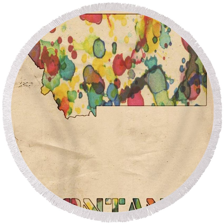 Montana Round Beach Towel featuring the painting Montana Map Vintage Watercolor by Florian Rodarte