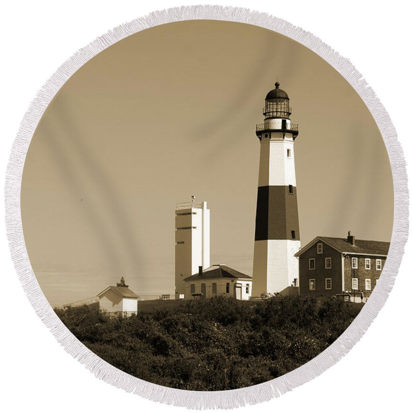 Lighthouse Round Beach Towel featuring the photograph Montauk Point Light In Sepia by Christiane Schulze Art And Photography