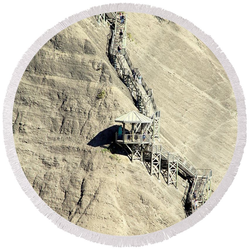 Stairway Round Beach Towel featuring the photograph Montmorency Falls Stairway by Valentino Visentini