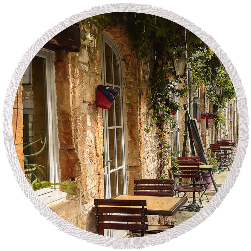 Terrasse Round Beach Towel featuring the photograph French Cafe by Dany Lison